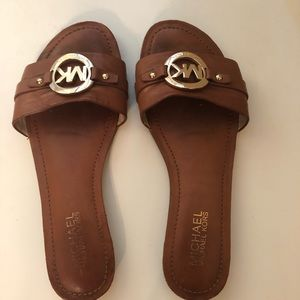 Michael Kors Brown Leather Slide Sandals